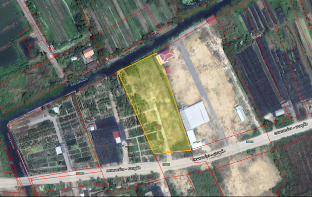 For SaleLandBangkruai, Ratchapruek : Land for sale (filled) on the main road, Wat Phra Ngoen, Bang Kruai district, 3 rai 1 ngan 3 square wa.