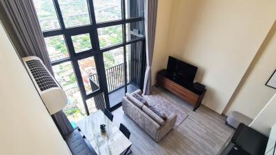 For RentCondoOnnut, Udomsuk : (Owner) For rent (for rent) The Line skv 101 2br.Duplex 63 sqm. Beautiful decoration, river view corner room, 36th floor.