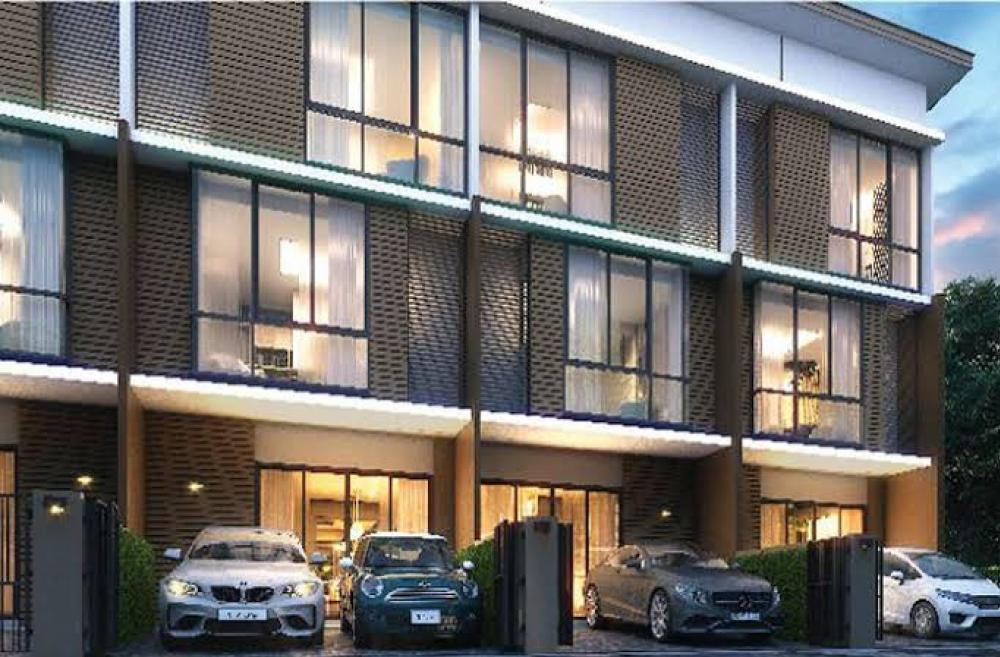 For SaleHome OfficeBangkruai, Ratchapruek : Patio Patio Rama 5 Sirinthon 3-storey townhome in front of the project, 5.39 million, Loft Style, size 27.9 sq.wa., usable area 161 sq m. 3 bedrooms, 3 bathrooms, 2 car parking, 5 meters wide, free wall, free water tank, home automation water pump