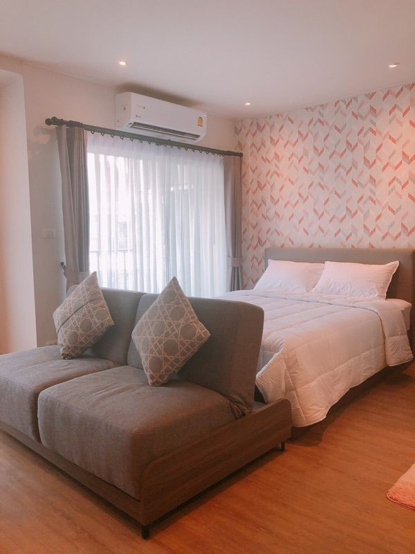 For RentCondoChiang Mai, Chiang Rai : For rent, D Condo Rin, studio room, 8th floor, fully furnished room, new project, just finished