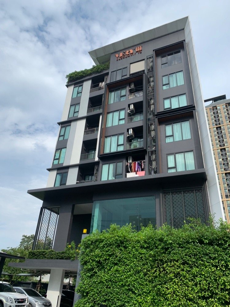 For SaleCondoBangna, Lasalle, Bearing : Urgent sale, Very Condo Sukhumvit 72, Phase 3, good location, near BTS Bearing, cold room all day, no sun, room facing north.