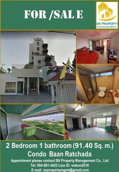 For SaleCondoLadprao 48, Chokchai 4, Ladprao 71 : (Sale) Condo Baan Ratchada (2 bedrooms, 1 bath, 91.40 sq m) with furniture, corner room