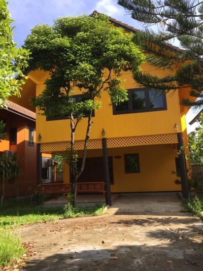 เช่าบ้านมีนบุรี-ร่มเกล้า : โครงการบ้านไทย ใกล้ธรรมชาติอันแสนร่มรื่น ตกแต่งเฟอร์นิเจอร์ครบครัน มีลานจอดรถ พร้อมเข้าอยู่อาศัย ใกล้ถนนนิมิตใหม่
