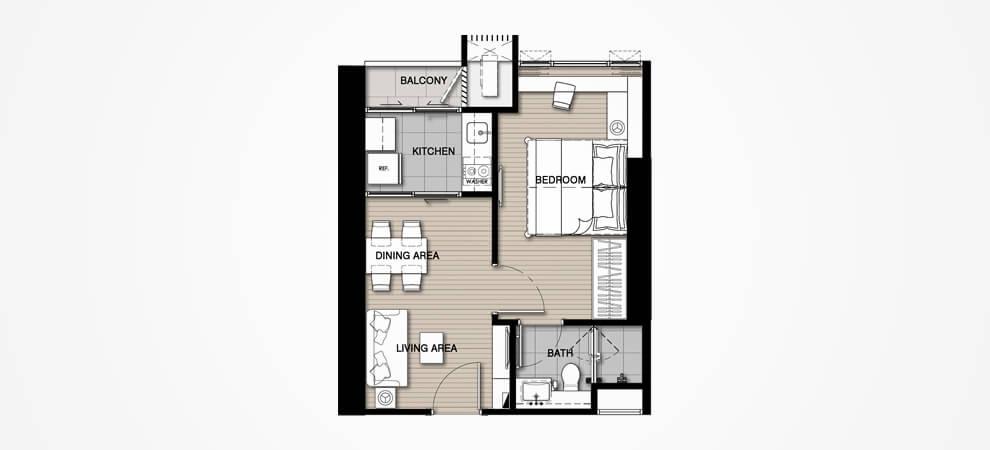 ขายดาวน์คอนโดอ่อนนุช อุดมสุข : ขายดาวน์ 1 ห้องนอน ชั้น 20+ ทิศใต้ วิวไม่บล็อค