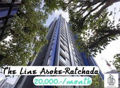 For RentCondoRama9, RCA, Petchaburi : For rent The Line Asoke-Ratchada Ready to move + well decorate/fully furnished Size 34.50, 20fl THB20,000.-/month