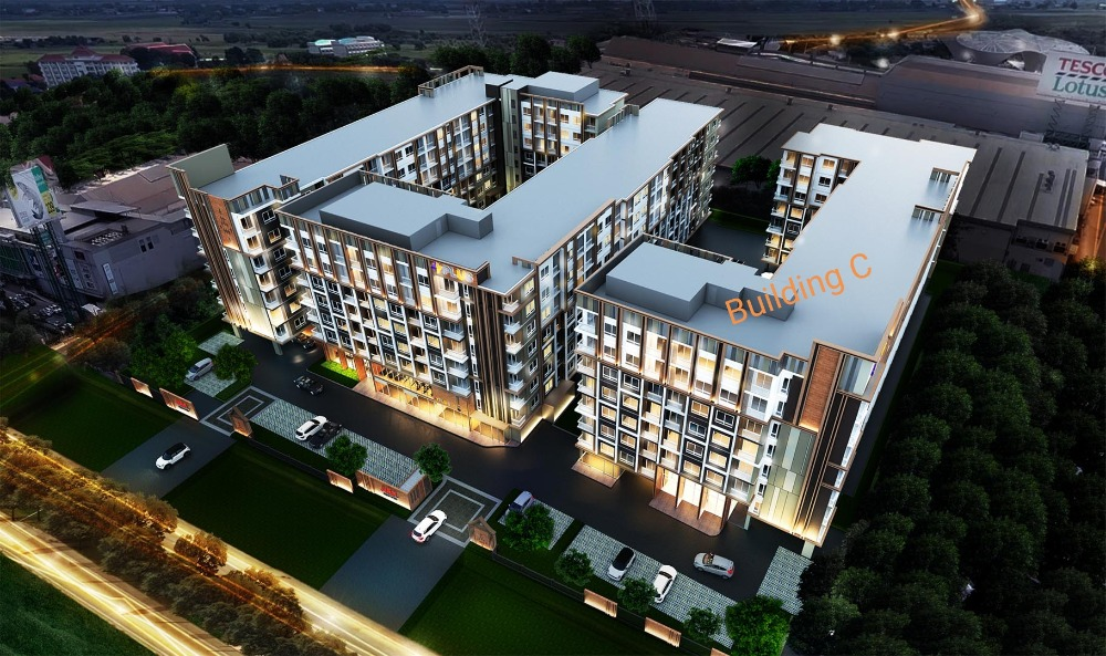 Sale DownCondoCentral Provinces : Condo for sale, Ayutthaya Plus Park, 5th floor, corner building, unmatched in front of the room, 30.5 sq m.