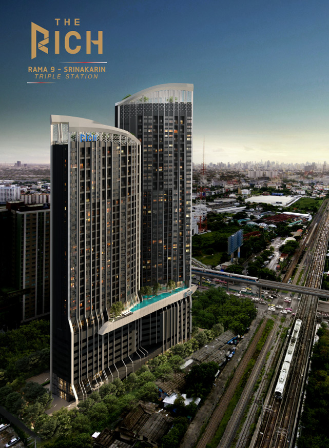 Sale DownCondoPattanakan, Srinakarin : Sales down payment !!! The Rich Rama9 - Srinakarin price, day, VVIP, the most beautiful position in the building.