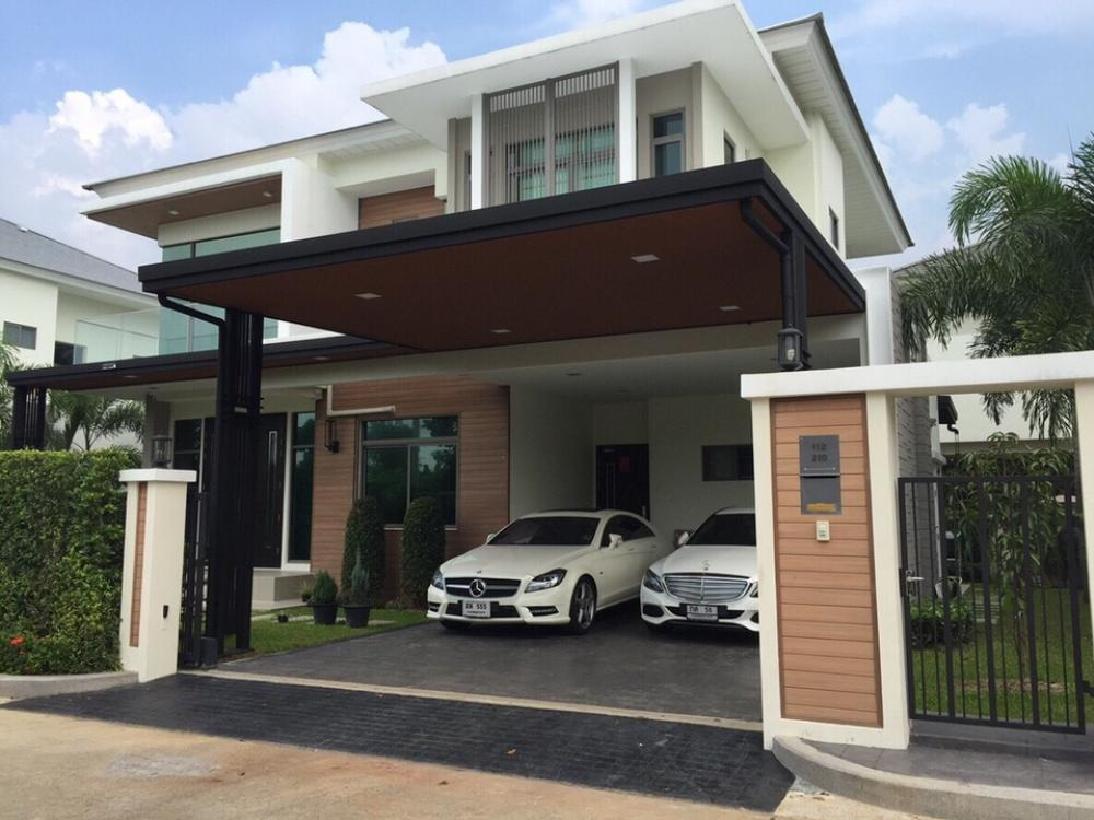 For SaleHouseBangbuathong, Sainoi : Luxury house for sale, perfect new masterpiece, excellent location, project on Rattanathibet road. Near the Purple Line. The house is fully furnished with electrical appliances. Full home theater with 5 bedrooms, 5 bathrooms, 1 living room, pet room. Arti
