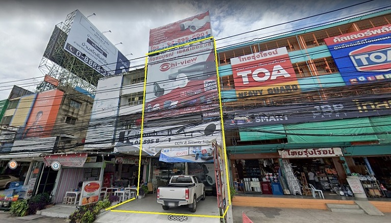 For RentShophouseRama 2, Bang Khun Thian : Sell-rent commercial building, commercial building on Rama 2 road, size 2 booths, 4.5 floors, width 8 m, depth 16 m, with parking in front of the building for 2 cars.