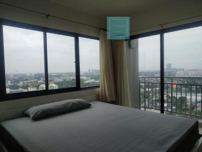 For RentCondoChengwatana, Muangthong : For rent, Supalai Loft Chaengwattana, 2Bed 72 sqm., Beautiful curved glass corner room, 3 balconies, only 18000 baht / month.