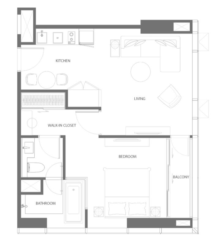 Sale DownCondoSukhumvit, Asoke, Thonglor : Rare unit for sale down payment 1 bedroom corner room