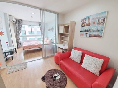 For RentCondoOnnut, Udomsuk : Condo for rent, LUMPINI Ville On Nut 46, beautiful room, renovated, 26 sq m, fully furnished, near BTS On Nut, only 7,000 ฿.