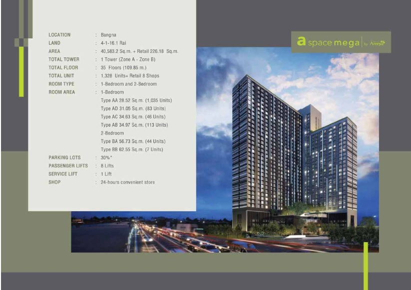 Sale DownCondoBangna, Lasalle, Bearing : Sale down payment a space mega.