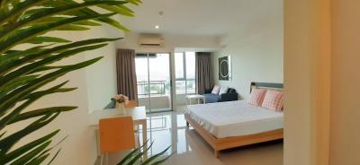 For RentCondoRamkhamhaeng, Hua Mak : Condo for rent, Ramkhamhaeng Inspire Place, ABAC-Rama 9, 29 sq m, city view, near the train, fully furnished, very beautiful room.