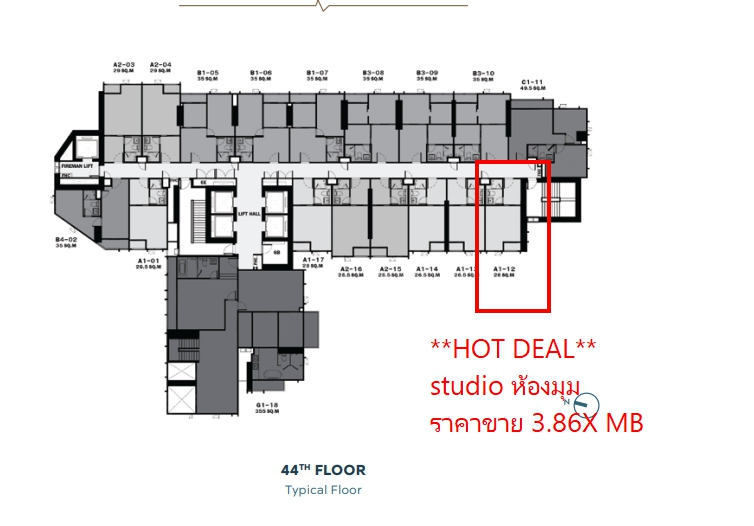 Sale DownCondoLadprao, Central Ladprao : ** Sale down payment ** Studio, corner room, floor 40 ++ 3.8X MB Free all, contact 093-6098996