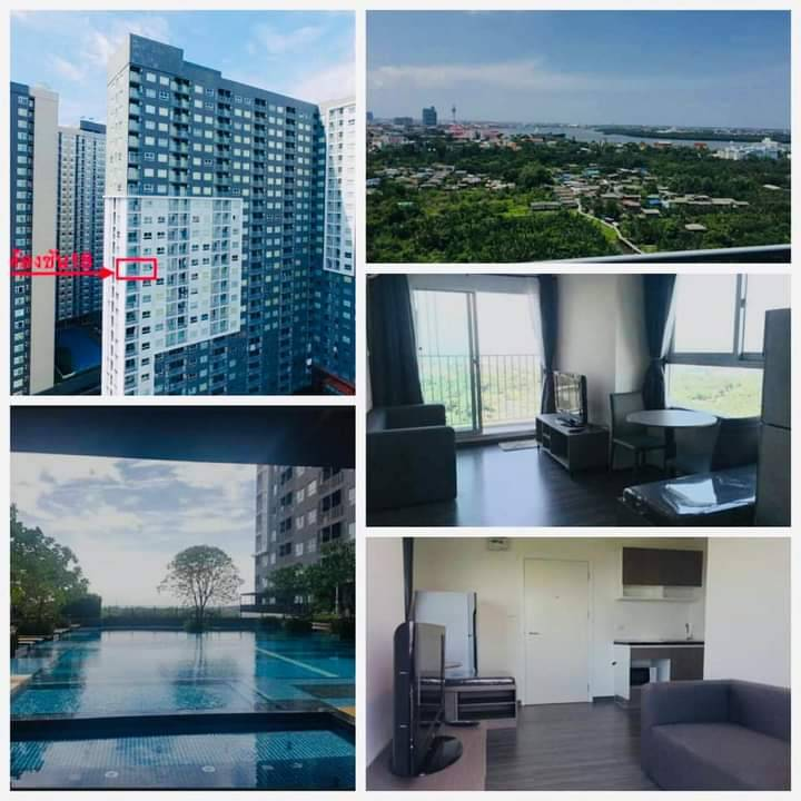 For RentCondoSamrong, Samut Prakan : (For rent) The Trust Condo Erawan, river view and near BTS