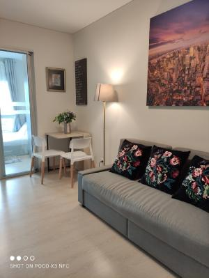 For RentCondoRattanathibet, Sanambinna : Condo for rent Niche id @ Pakkret Station on 20th floor : North side, River view ,FREE WIFI , fully furnished ,2 Air con  washing machine, MICROWAVE, smart tv,