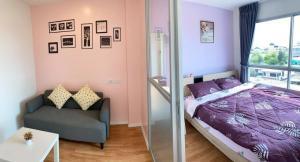 For RentCondoSamrong, Samut Prakan : For rent - Lumpini Ville Sukhumvit 76 - 1 bedroom, 1 bathroom, new room, fully furnished.