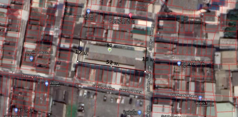 For SaleLandSilom, Saladaeng, Bangrak : Land for sale, Si Phraya, Bang Rak, Soi Sawang 7, central location, community area, near expressway, area 226 square wah, price 45 million baht.