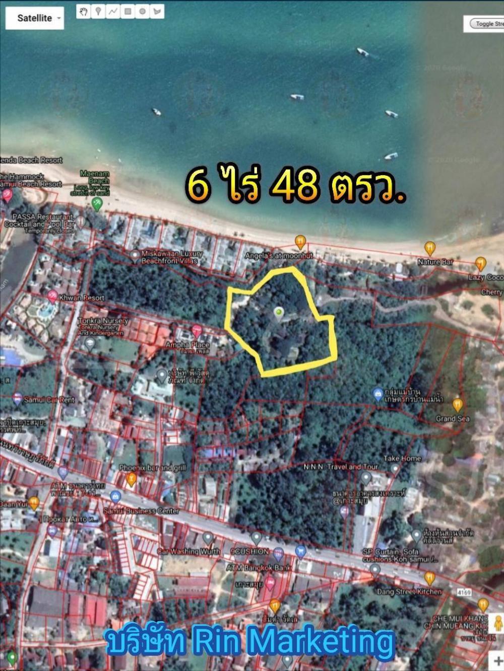 For SaleLandSamui, Surat Thani : Koh Samui land for sale next to Maenam Beach with bungalows, size 6 rai 48 sq m.