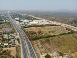 For SaleLandKorat KhaoYai Pak Chong : Land for sale on Mittraphap Road, Pak Chong, 30 rai 17 sq m, next to PTT pump, railway, suitable for factory, water outlet