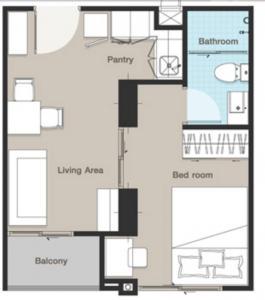 For RentCondoRama3 (Riverside),Satupadit : For Rent Studio 30 sqm Pool view.