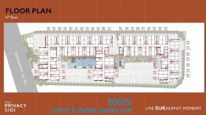 Sale DownCondoOnnut, Udomsuk : Sell Down Payment condo The Privacy S101 Building B Floor 6 Corner&Pocket Garden (450 m distance to BTS Punnawithi