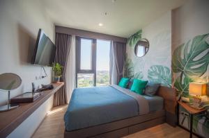 เช่าคอนโดพระราม 9 เพชรบุรีตัดใหม่ : For Rent The BASE Garden Rama 9 เครื่องใช้ไฟฟ้าครบ+มีอินเตอร์เนต @JST Property.