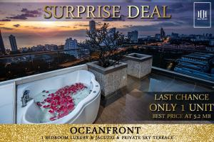 For SaleCondoPattaya, Bangsaen, Chonburi : Summer Promotion Ideas! Turn your private roof terrace into a romantic rooftop. Outdoor Lliving Lifestyle meets the needs of people who love living in a 30-storey Pattaya vacation condo near the beach of Jomtien, just 800 m.