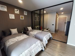 For RentCondoRangsit, Patumtani : [Rented] Brand new room, Kave Town Space Condo, only 200 meters to Bangkok University, beautifully decorated.