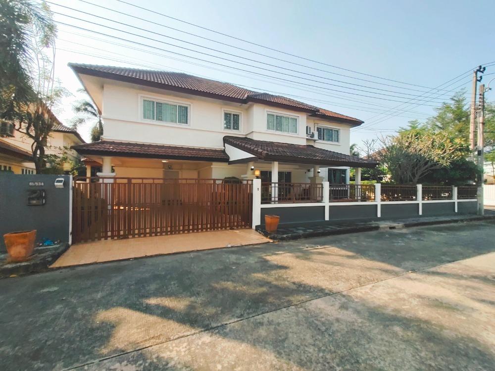 For SaleHouseRamkhamhaeng,Min Buri, Romklao : Big single house 102.6 sq.w., corner behind, 1 additional extension, very good value, beautiful location, ready to move in Royal Park Ville Suwinthawong Village 44