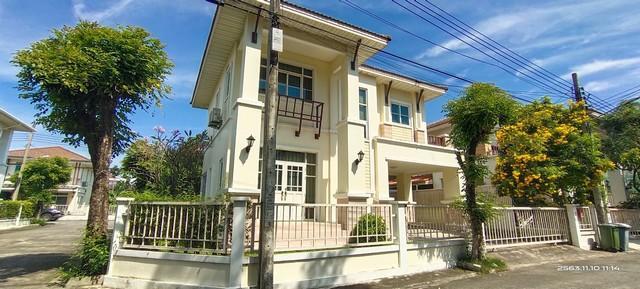 For RentHouseBangna, Lasalle, Bearing : 2 storey detached house for rent Baan Sirinda Pranali Kingkaew 19 ready to be located near Chularat Kingkaew Hospital