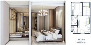 For SaleCondoRatchathewi,Phayathai : ขาย1bedroom plus. Set ห้องเป็น2ห้องนอนได้  ตึกพร้อมเข้าอยู่ปลายปี