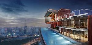 Sale DownCondoRama9, RCA, Petchaburi : Owner Sales: Sale down payment, Studio room 25.5m2, 7th floor, pool view