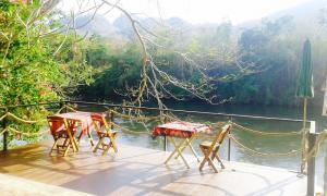ขายบ้านกาญจนบุรี : **ขายที่ดินพร้อมบ้าน ที่ อำเภอไทรโยก  จังหวัด กาญจนบุรี พื้นที่ขนาด  2 ไร่  และพื้นที่ริมน้ำอีก  6 เมตร สามารถมองเห็นทั้งวิวสวนและวิวแม่น้ำ (แควน้อย)  เป็นที่  #ภบท5 บ้านสไตล์คอทเทจ  มี  2 ห้องนอน  2 ห้องน้ำ