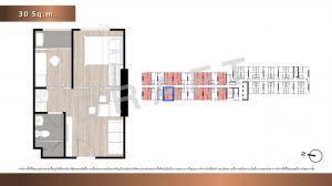 Sale DownCondoRamkhamhaeng,Min Buri, Romklao : (Owner) Sale down payment below cost Condo The Origin Ram 209 Interchange, 7th floor, size 30.5 sq.m.