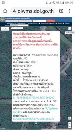 For SaleLandNakhon Si Thammarat : ขาย/เช่า 5000/เดือน ที่ปล่าวสามไร่ กว่าๆ ให้เช่า แบบรวม3ไร่ 5500/เดือน อำเภอ ร่อนพิบูลย์ นครศรีธรรมราช เคย ใช้ปลูกสวนยาง ติดถนน เดินทางสบาย ขายราคาไร่ละ 400,000 บาท สนใจติดต่อ 0889326824 คิมมีโฉนดพร้อมโอน. ปล.ค่าโอนโฉนดให้ผู้ซื้อดำดำเนินการ สัญญาเช่า 1ปีเ