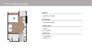 ขายดาวน์คอนโดรังสิต ธรรมศาสตร์ ปทุม : ขายดาวน์ ถูกกว่าโครงการ Monte rsu Studio ชั้น 3 typeนี้หมดแล้ว