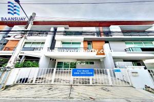 For RentTownhouseRamkhamhaeng Nida, Seri Thai : 3-storey townhome for rent, Nirvana Cluster Ramkhamhaeng Village, ready to move in, Rat Phatthana Road, near the ring road, just 300 m.