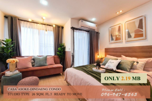 For SaleCondoRama9, RCA, Petchaburi : W457_Condo for sale: Casa Asoke, Din Daeng, beautiful room, ready to move in, very beautiful decoration, beautiful.