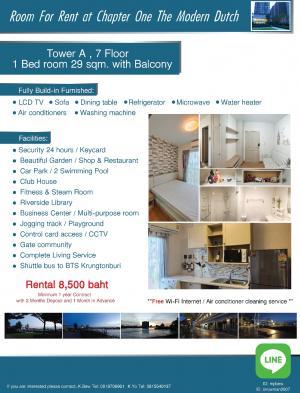 For RentCondoRathburana, Suksawat : Room for Rent at Chapter One Modern Dutch