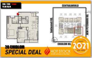 For SaleCondoWitthayu,Ploenchit  ,Langsuan : 2BR ห้องมุม ตึก Villa >< 2นอน/2น้ำ- 28 Chidlom, 75.X ตรม - New Year Special Deal >วิวสวย ไม่บล๊อก ห้องสุดท้าย^^!<