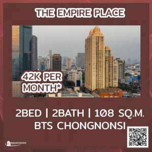 For RentCondoSathorn, Narathiwat : ✨ The Empire Place✨ [For Rent] Beautiful room, decorated in modern style, very cheap price, high floor, beautiful view, ready to move in.