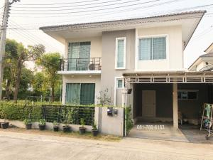 For SaleHouseNawamin, Ramindra : Twin house for sale in the corner of The Trust Kanchanaphisek-Hathairat The Trust Lam Luk Ka Pathum Thani 36.80 wa