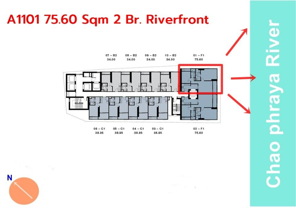 ขายดาวน์คอนโดวงเวียนใหญ่ เจริญนคร : [RareUnit] Riverfront A1101 ห้องหน้าแม่น้ำ หายากที่สุด ตำแหน่งดีที่สุด