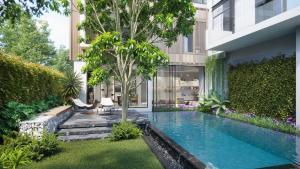 For RentHouseRama9, RCA, Petchaburi : LH0223 - 3-storey detached house at นันทวัน พระราม 9 – ศรีนครินทร์ Nantawan Rama 9- Srinakarin with private pool