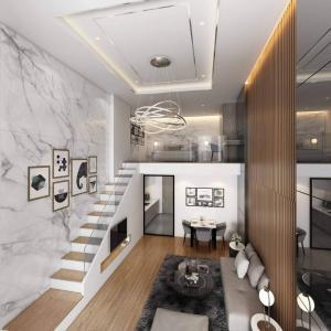 ขายดาวน์คอนโดบางนา แบริ่ง : ห้อง Duplex 2 ชั้น (เพดานสูง 5.6 เมตร)
