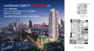 Sale DownCondoSilom, Saladaeng, Bangrak : [Owner 💯] Condo Supalai Premier Si Phraya 2BR2B 80 sq. m. Fl. 20😍 8.5 MBth