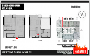 "For SaleCondoSukhumvit, Asoke, Thonglor : * 2 bedrooms, 2 bathrooms, Duplex 2 floors ""103 sqm"", high floor, beautiful view, luxury condo, full floor, feeling like home, BTS Thong Lo Dew, special starting at 26 million baht."