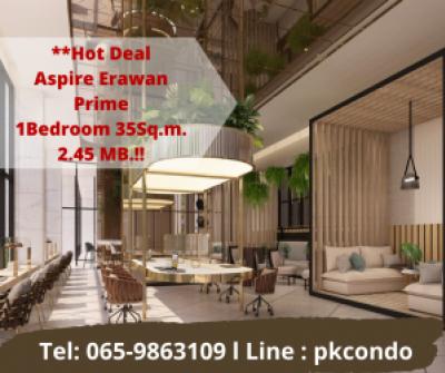 For SaleCondoSamrong, Samut Prakan : 💥Aspire Erawan Prime 1 bedroom 1 bathroom 35 sq m. 💥 1 step from Chang Erawan BTS station only 2.45 million baht Tel: 065-9863109 Pukkie